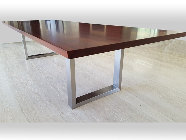 Jarrah dining table with stainless steel legs