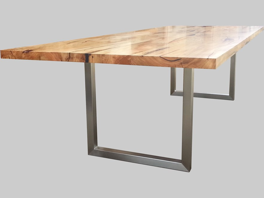 Marri table with stainless steel legs