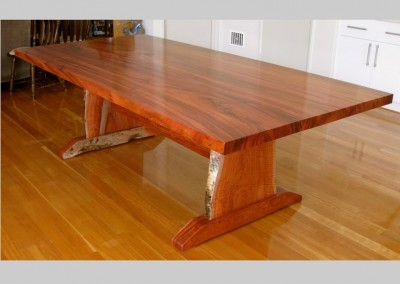 Jarrah dining table with natural edges