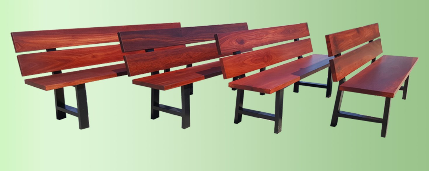 Jarrah bench seats with black metal legs