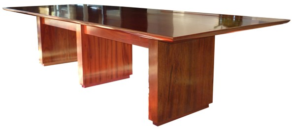 Solid timber jarrah dining table showing the quality of finish