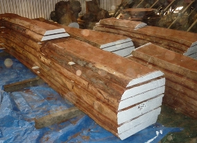 Raw timber drying for use as table tops