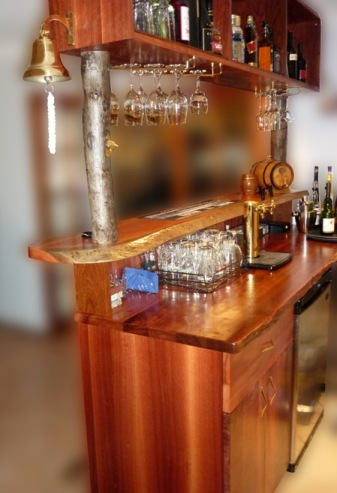 Jarrah bar, cabinets and shelves