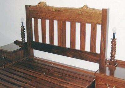 Jarrah bed with natural edge head