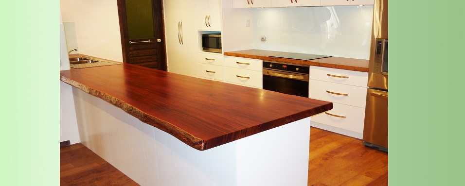 Jarrah natural edge kitchen bench tops