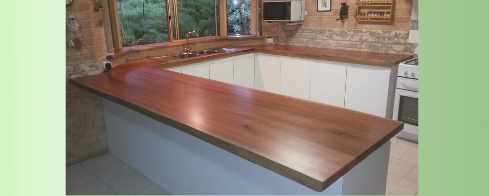 Jarrah natural edge kitchen bench tops