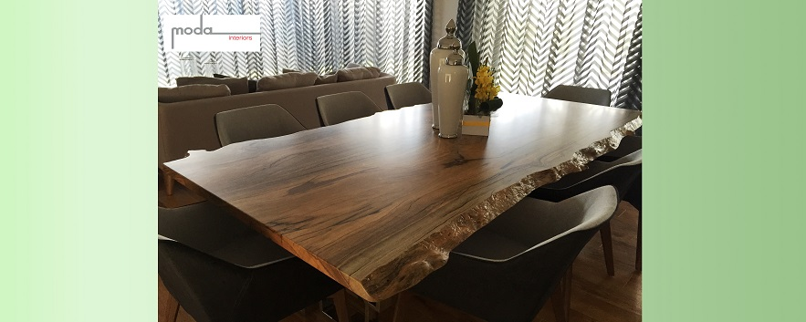 Marri natural edge dining table - manufactured for Moda Interiors