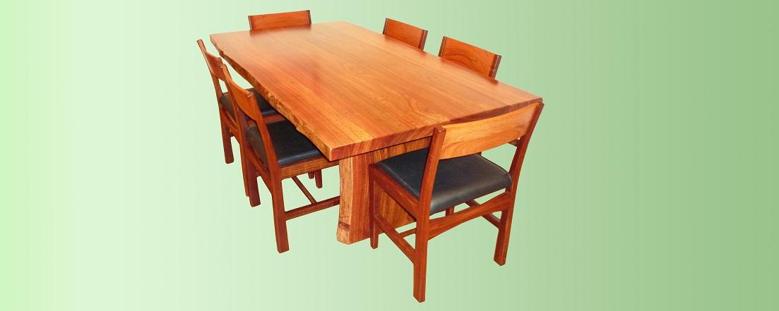 Jarrah natural edge dining table and chairs - Kurrajong