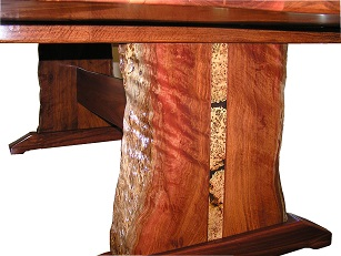 End detail of a jarrah dining table with inlay