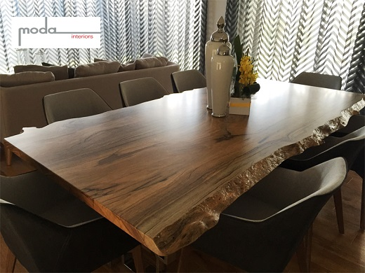 Marri dining table with natural edges - manufactured for Moda Interiors