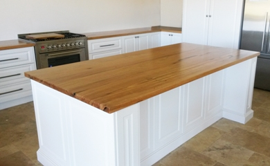Marri kitchen bench tops with island bench