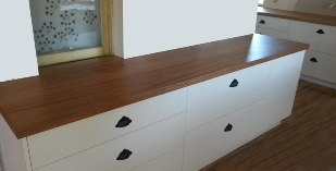 Marri kitchen bench tops with an oil finish