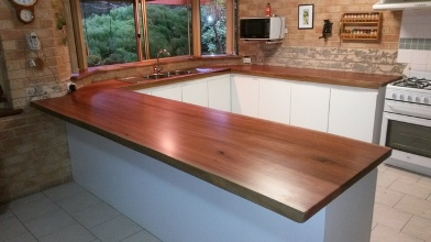 U-shaped jarrah kitchen bench tops