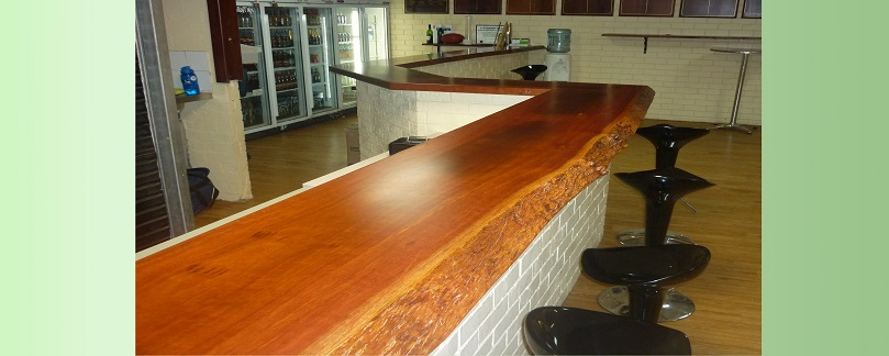 Jarrah bar top in football club rooms