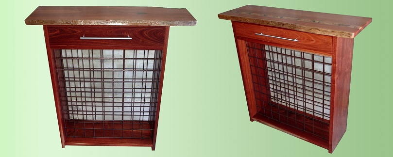 Jarrah wine racks, one with inlay - Karrajong